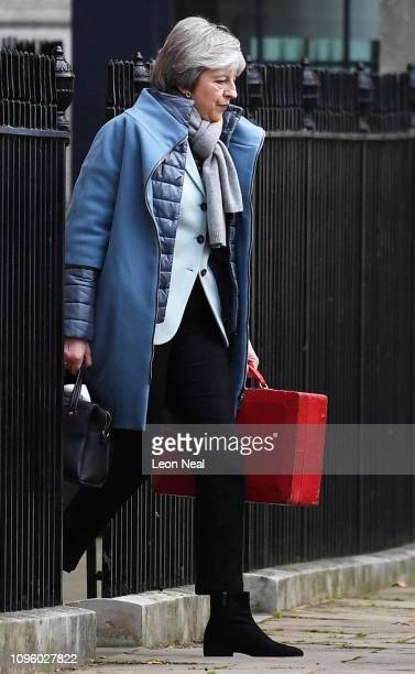 British Prime Minister Theresa May leaves from the back of 10 Downing Street on January 18 2019 in London England After defeating a vote of no...