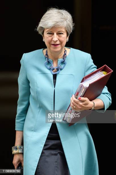 British Prime Minister Theresa May leaves number 10 ahead of PMQs in the House of Commons on June 19, 2019 in London, England. The Conservative...