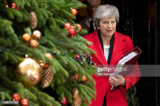 British Prime Minister Theresa May leaves number 10 Downing Street on December 5 2018 in London England Cabinet meets this morning after an historic...