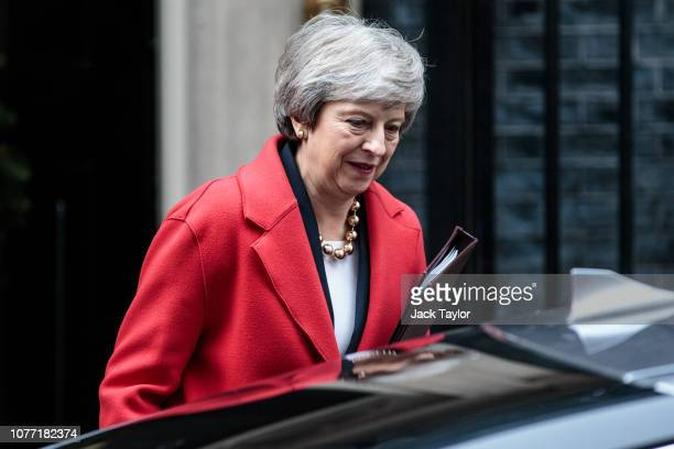 British Prime Minister Theresa May leaves Number 10 Downing Street on December 04 2018 in London United Kingdom MPs are debating whether the...