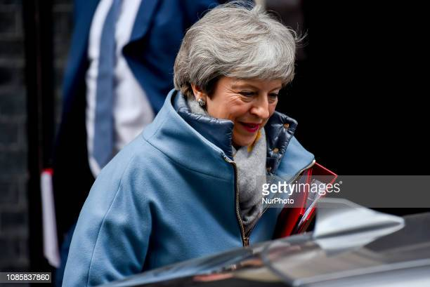 British Prime Minister Theresa May leaves Number 10 Downing Street on January 21 2019 in London England Mts Theresa May is due to address the House...