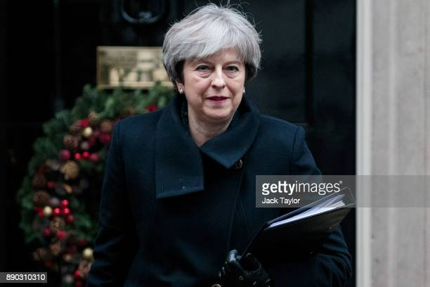 British Prime Minister Theresa May leaves Number 10 Downing Street on December 11 2017 in London England Mrs May is to address MPs in Parliament this...