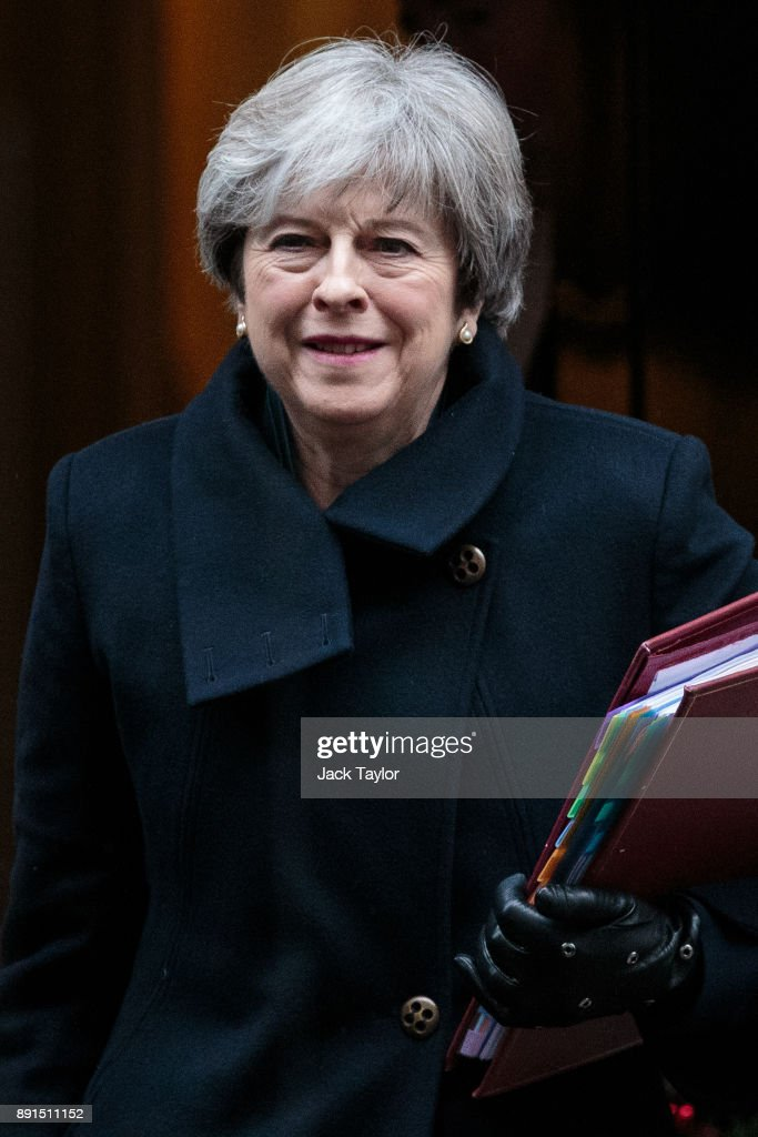 British Prime Minister Theresa May leaves Number 10 Downing Street on December 13, 2017 in London, England. Mrs May will head to Brussels for a crucial European Council meeting this week as Brexit negotiations move onto the next phase.