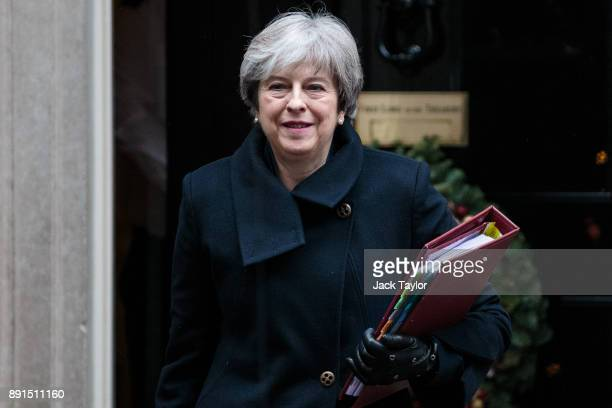 British Prime Minister Theresa May leaves Number 10 Downing Street on December 13 2017 in London England Mrs May will head to Brussels for a crucial...