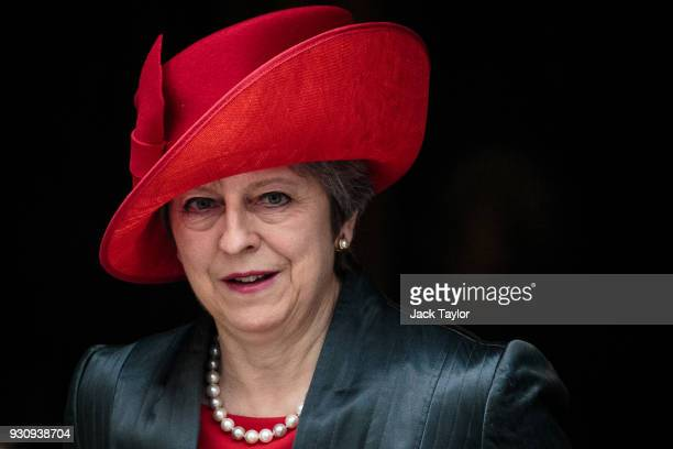 British Prime Minister Theresa May leaves Number 10 Downing Street on March 12 2018 in London England Theresa May will give a statement to the House...