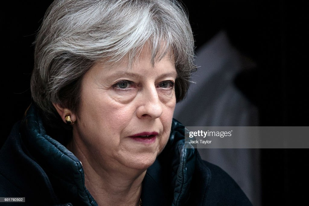 British Prime Minister Theresa May leaves Number 10 Downing Street on March 14, 2018 in London, England. Mrs May is expected to announce measures against Moscow after it failed to meet a deadline to explain how a Russian nerve agent was used in Salisbury against former spy Sergei Skripal and his daughter Yulia.
