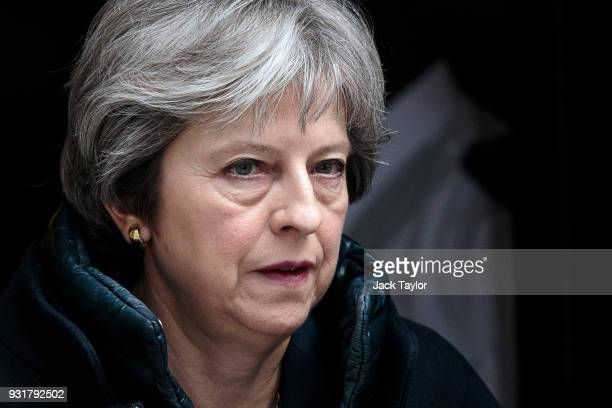 British Prime Minister Theresa May leaves Number 10 Downing Street on March 14 2018 in London England Mrs May is expected to announce measures...
