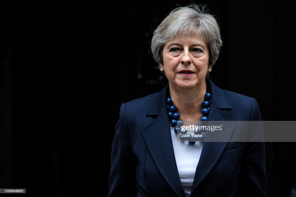 Theresa May Leaves Downing Street Ahead Of EU Salzberg Meeting