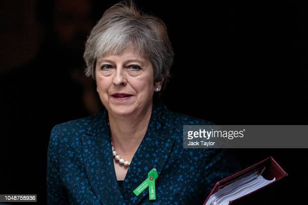 British Prime Minister Theresa May leaves number 10 Downing Street for Prime Minister's Questions on October 10 2018 in London England The Prime...