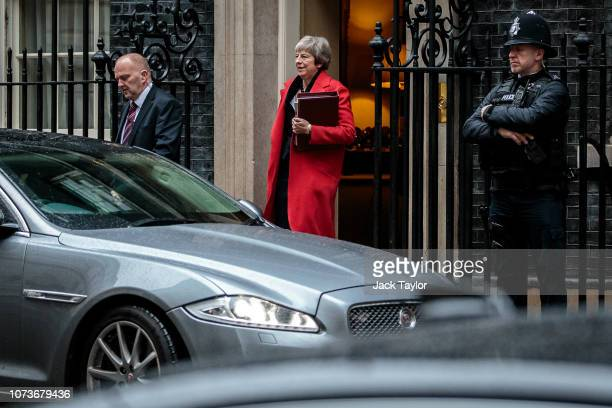 British Prime Minister Theresa May leaves Number 10 Downing Street for Prime Minister's Questions on November 28, 2018 in London, England. Mrs May...