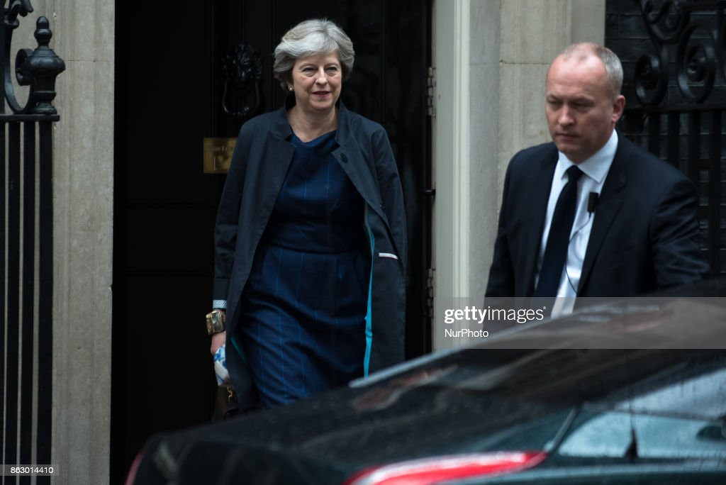 Theresa May Leaves Downing Street To Head To Brussels For Further Brexit Talks : News Photo