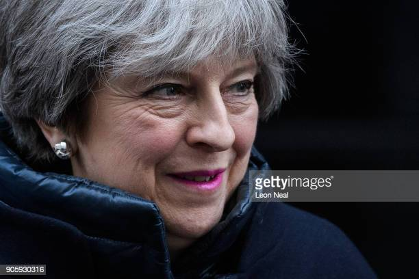 British Prime Minister Theresa May leaves number 10 Downing Street ahead of the weekly PMQ session in the House of Commons on January 17 2018 in...