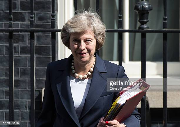 British Prime Minister Theresa May leaves number 10 Downing Street to attend Prime Minister's Questions at the Houses of Parliament on July 20 2016...