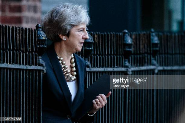 British Prime Minister Theresa May leaves the back of Number 10 Downing Street on October 22 2018 in London England Mrs May is to update MPs in the...