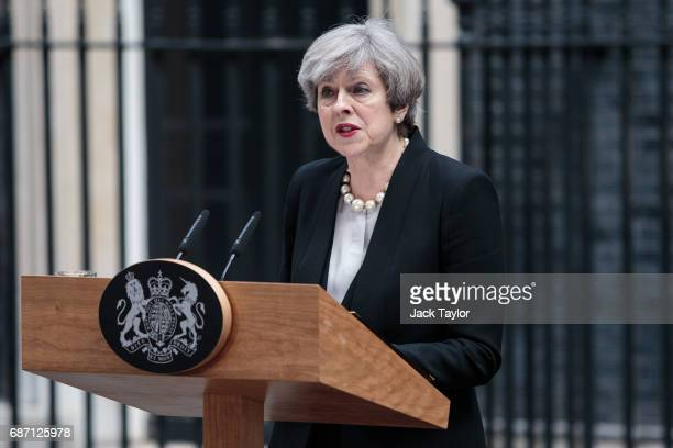 British Prime Minister Theresa May makes a statement in Downing Street after chairing a COBRA meeting on May 23 2017 in London England 22 people...