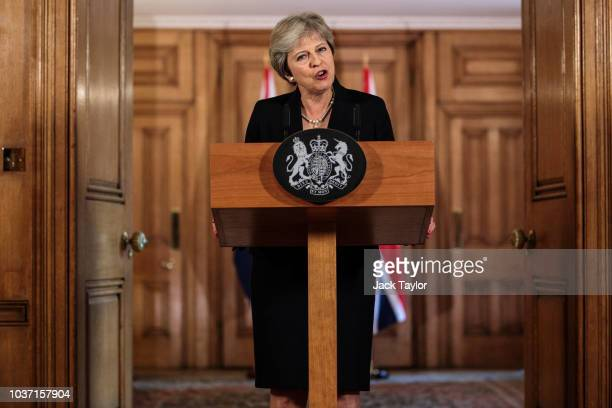 British Prime Minister Theresa May makes a statement on Brexit negotiations with the European Union at Number 10 Downing Street on September 21 2018...