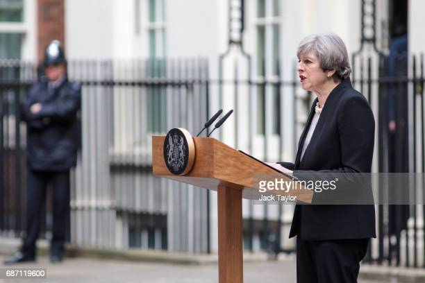 British Prime Minister Theresa May makes a statement on Downing Street after chairing a COBRA meeting on May 23 2017 in London England 22 people...