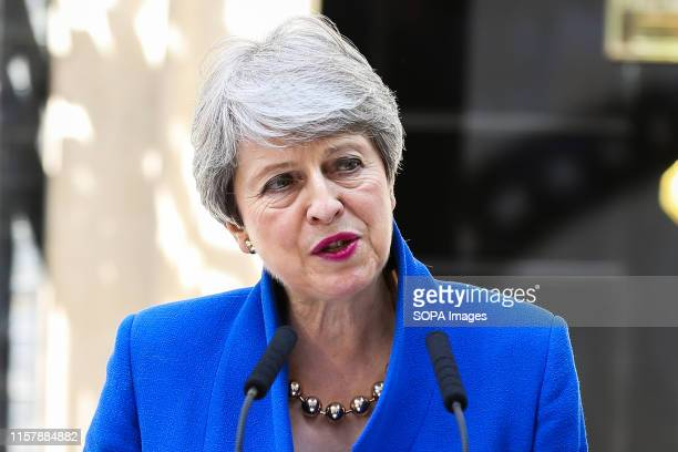 British Prime Minister Theresa May makes a statement outside 10 Downing Street in Westminster. The 76th British Prime Minister will hand her...