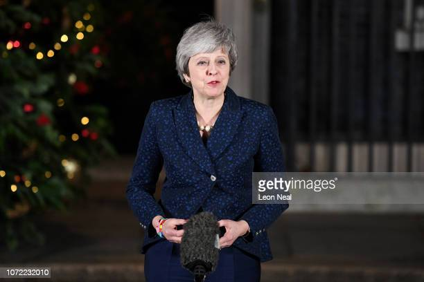 British Prime Minister Theresa May makes a statement outside Number 10 Downing Street on December 12 2018 in London England Theresa May survived a...