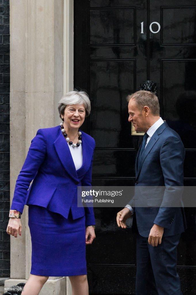 Theresa May meets Donald Tusk at Downing Street : ニュース写真