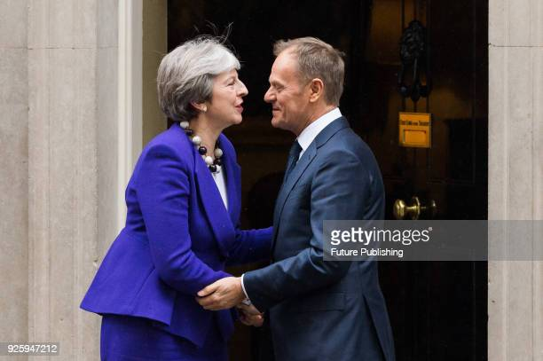 British Prime Minister Theresa May meets President of the European Council Donald Tusk at Downing Street in central London to discuss Brexit and the...