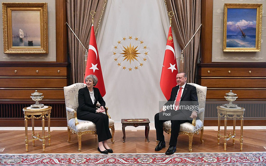 British Prime Minister Theresa May meets President Recep Tayyip Erdogan at the Presidential Palace on January 28, 2017 in Ankara, Turkey. Prime Minister Theresa May is in Turkey to start post-Brexit trade talks with President Erdogan. Turkey joins 13 other countries in trade talks with the UK.