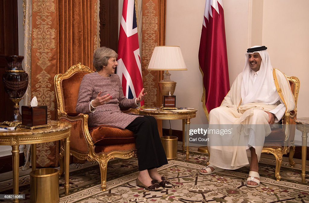 British Prime Minister Theresa May (L) meets Sheikh Tamim bin Hamad Al Thani, the Emir of Qatar, during a bilateral meeting at the Gulf Cooperation Council summit, on December 7, 2016 in Manama, Bahrain. Prime Minister May is meeting Gulf leaders during the annual two-day Gulf Cooperation Council where she has discussed regional issues including the situations in Yemen and Syria and the perceived regional threat posed by Iran.