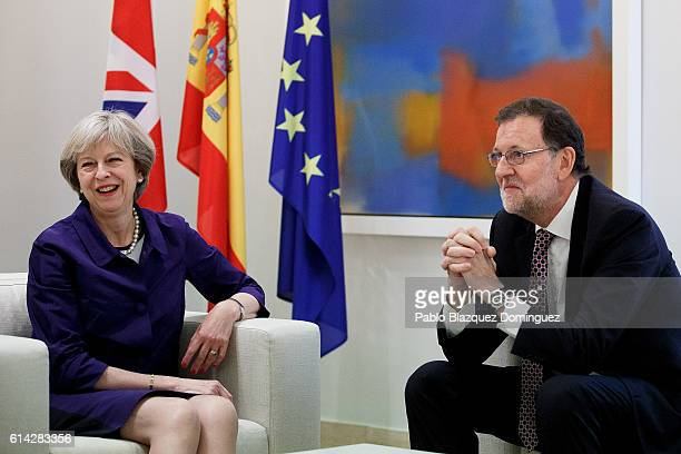 British Prime Minister Theresa May meets Spanish caretaker Prime Minister Mariano Rajoy at Moncloa Palace on October 13 2016 in Madrid Spain May's...