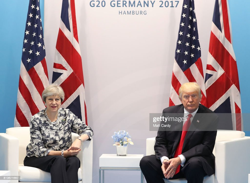 British Prime Minister Theresa May meets U.S President Donald Trump during the G20 summit on July 8, 2017 in Hamburg, Germany. Leaders of the G20 group of nations are meeting for the July 7-8 summit. Topics high on the agenda for the summit include climate policy and development programs for African economies.