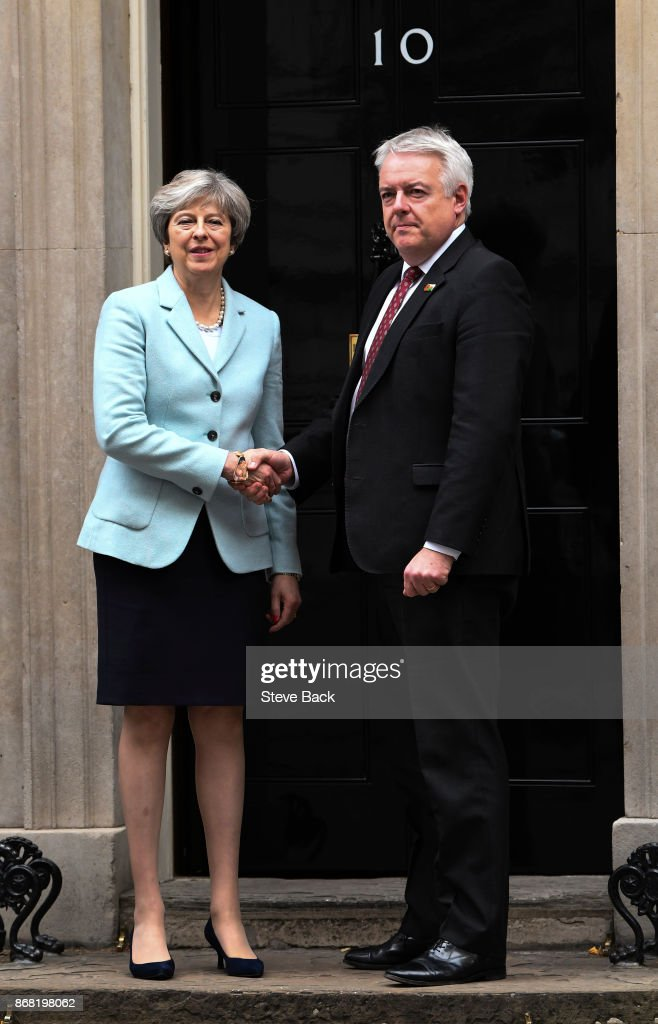 British Prime Minister Theresa May meets with Carwyn Jones, First Minster of Wales for talks in Number 10 Downing Street on 30 October 2017 in London, England. Following allegations of sexual harassment in the Houses of Parliament, Mrs May has said the disciplinary regime lacks teeth and must be strengthened.