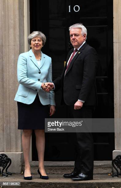 British Prime Minister Theresa May meets with Carwyn Jones First Minster of Wales for talks in Number 10 Downing Street on 30 October 2017 in London...