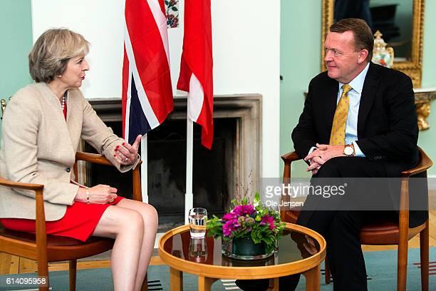 British Prime Minister Theresa May meets with Danish PM Lars Loekke Rasmussen at his official residence, Marienborg, October 10, 2016 in Kongens...