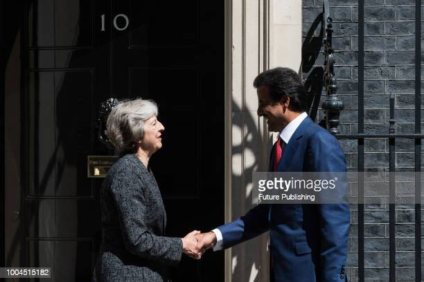 British Prime Minister Theresa May meets with Emir of Qatar Sheikh Tamim ibn Hamad Al Thani at 10 Downing Street in central London July 24 2018 in...