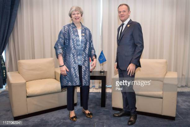 British Prime Minister Theresa May meets with EU Council President Donald Tusk during the first Arab-European Summit on February 24, 2019 in Sharm El...
