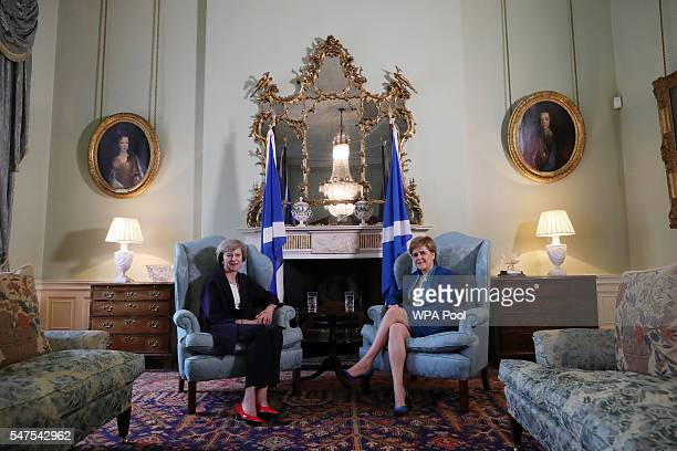 British Prime Minister Theresa May meets with First Minister Nicola Sturgeon at Bute House on July 15 2016 in Edinburgh Scotland Prime Minister flew...