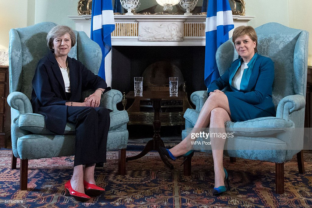 British Prime Minister Theresa May (L) meets with First Minister Nicola Sturgeon at Bute House on July 15, 2016 in Edinburgh, Scotland. Prime Minister flew in for Brexit talks with the First Minister, and is expected to express that she wants the Scottish Government to play a key role in negotiations with the EU.
