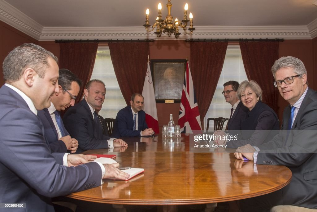 British Prime Minister Theresa May (2nd R) meets with Malta's Prime Minister Joseph Muscat (3rd L) at Westminster Abbey in London, United Kingdom on March 13, 2017.