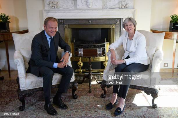 British Prime Minister Theresa May meets with President of the European Council Donald Tusk at Downing Street on June 25 2018 in London England