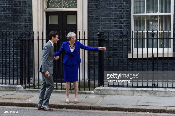 British Prime Minister Theresa May meets with Prime Minister of Canada Justin Trudeau at 10 Downing Street as the UK hosts the Commonwealth Heads of...
