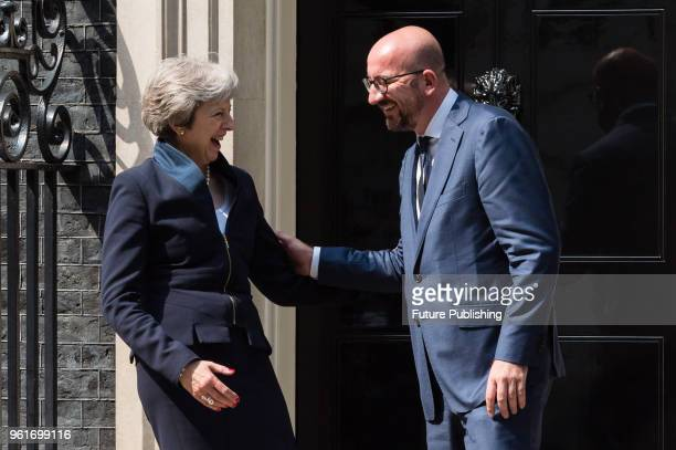 British Prime Minister Theresa May meets with Prime Minister of Belgium Charles Michel for bilateral talks at 10 Downing Street in central London....