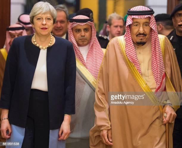 British Prime Minister Theresa May meets with Saudi Arabia's King Salman bin Abdulaziz Al Saud during his official visit at the Al-Yamamah Palace in...