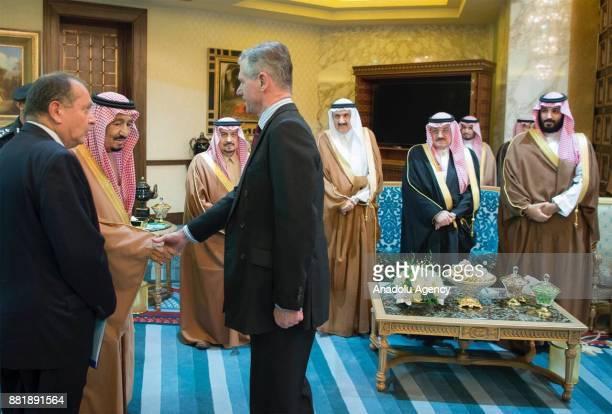 British Prime Minister Theresa May meets with Saudi Arabia's King Salman bin Abdulaziz Al Saud during his official visit at the AlYamamah Palace in...