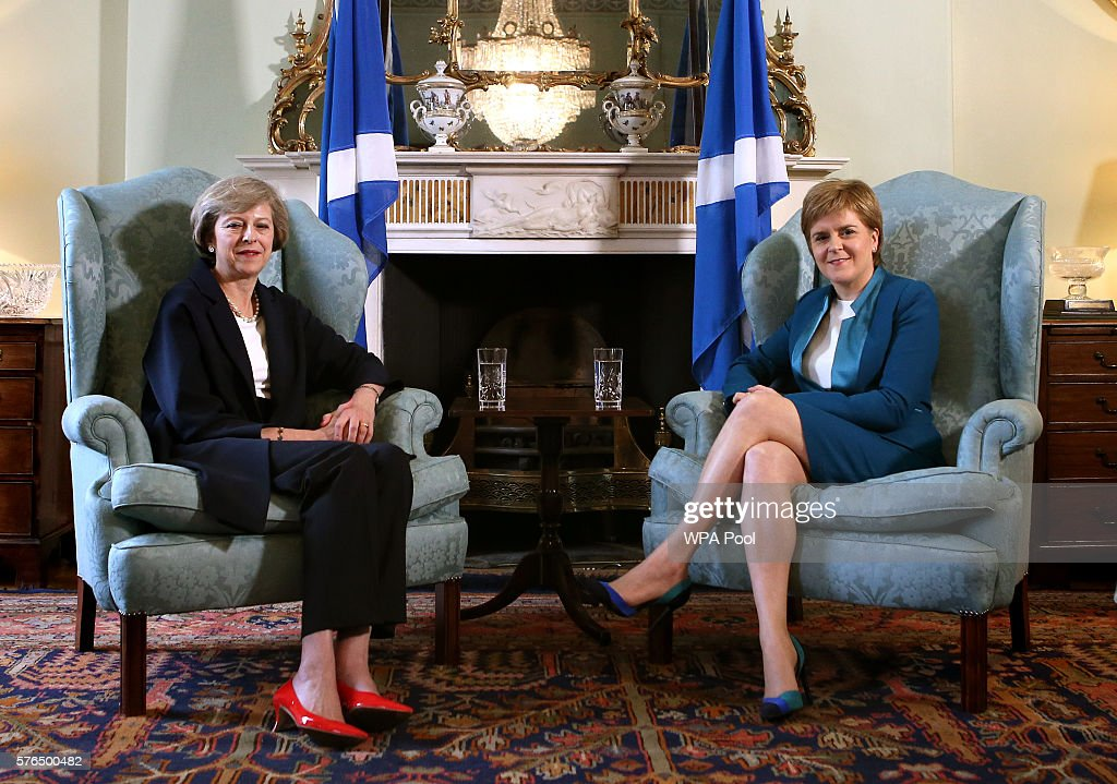 British Prime Minister Theresa May (L) meets with Scottish First Minister Nicola Sturgeon at Bute House on July 15, 2016 in Edinburgh, Scotland. Prime Minister flew in for Brexit talks with the First Minister, and is expected to express that she wants the Scottish Government to play a key role in negotiations with the EU.