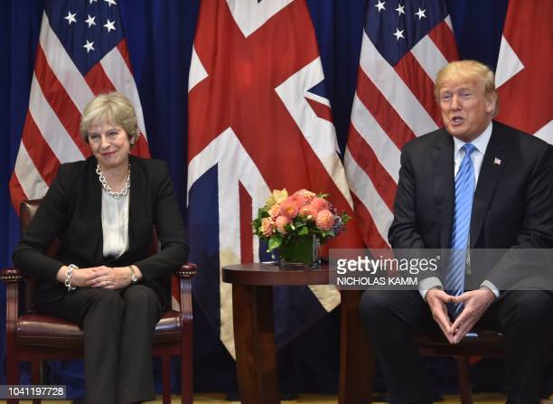 British Prime Minister Theresa May meets with US President Donald Trump September 26 2018 on the sidelines of the United Nations General Assembly in...