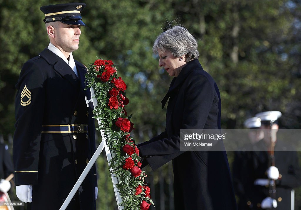Prime Minister Theresa May Lays Wreath At Tomb Of Unknown Soldier In Arlington National Cemetery : News Photo