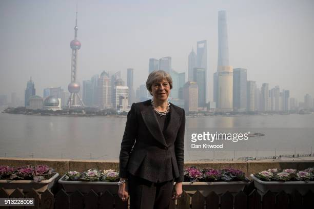 British Prime Minister Theresa May poses in front of the Shanghai skyline on February 02 2018 in Shanghai China Mrs May will today adress a ChinaUK...