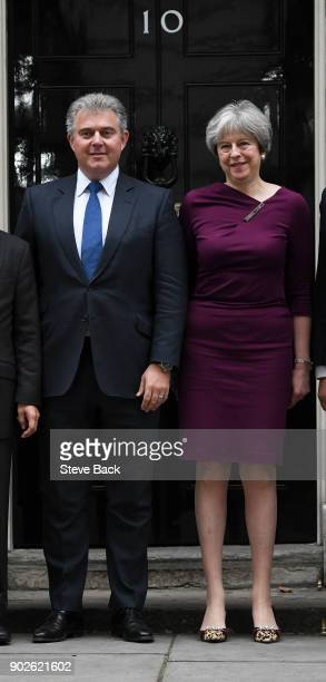 British Prime Minister Theresa May poses outside 10 Downing street with newly appointed chairman of the Conservative Party Brandon Lewis on January 8...