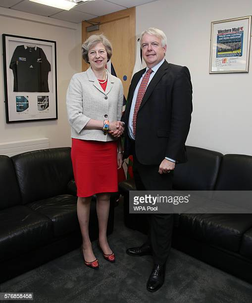 British Prime Minister Theresa May poses with the First Minister of Wales Carwyn Jones AM ahead of their bilateral meeting at the Senedd the National...