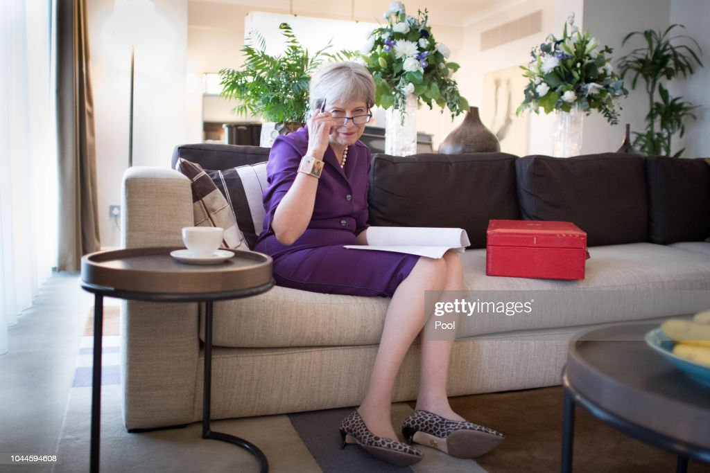 Prime Minister Theresa May Prepares Her Keynote Speech : News Photo