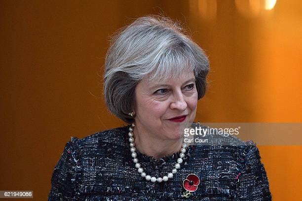 British Prime Minister Theresa May prepares to greet her Hungarian counterpart Viktor Orban in Downing Street on November 9 2016 in London England...